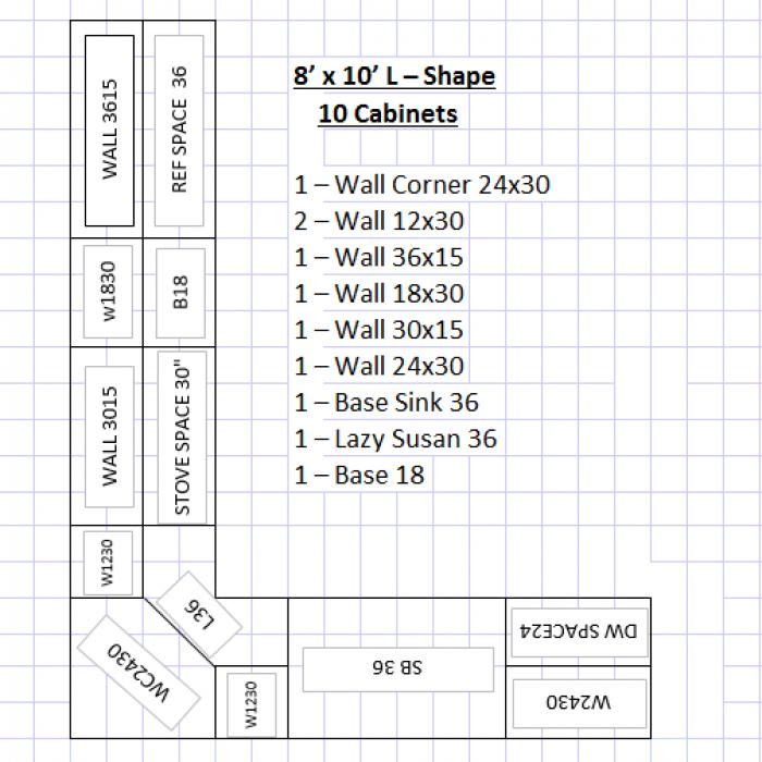8'x10' L Shape 10 kitchen cabinets
