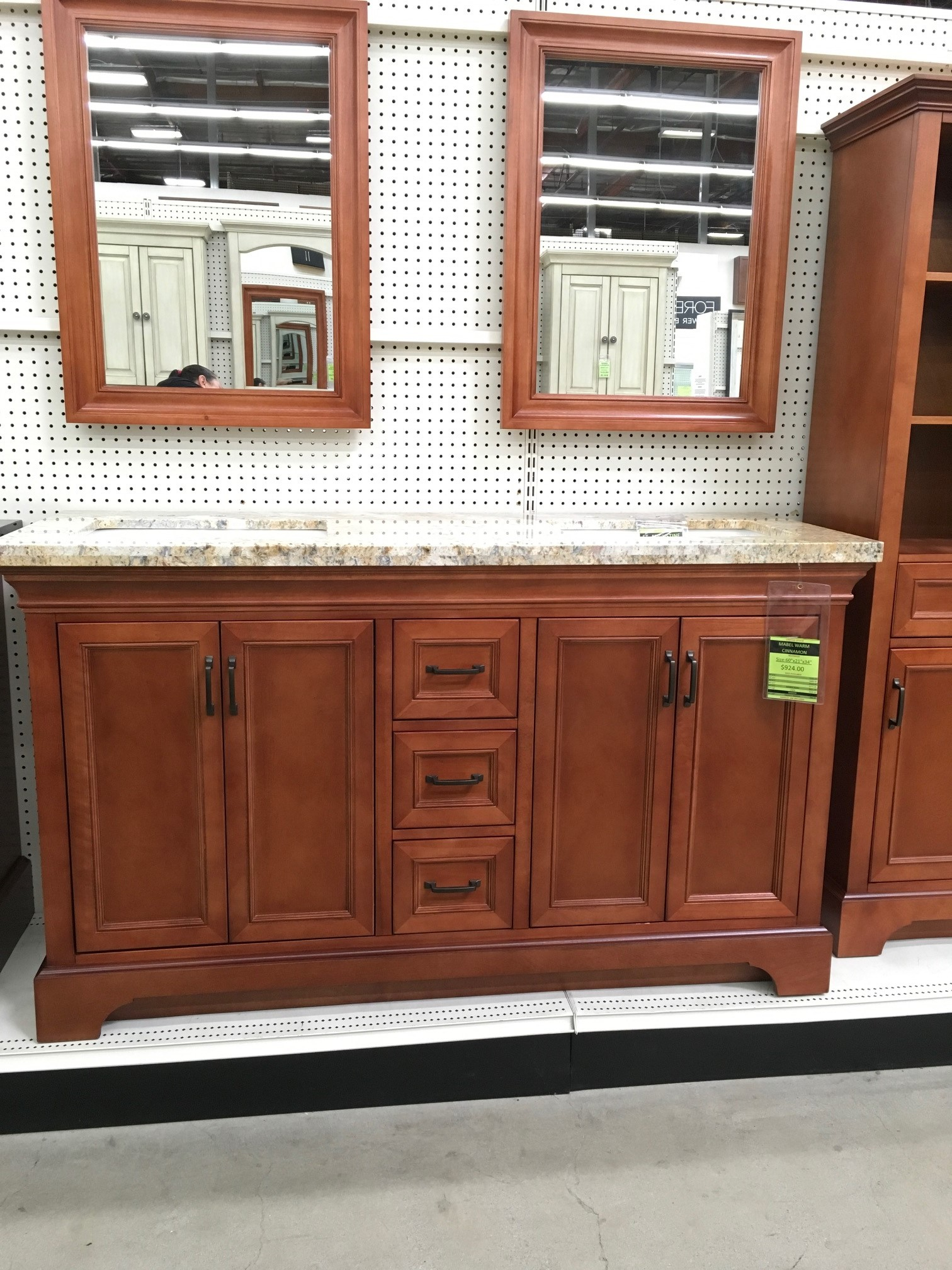 Mabel warm cinnamon vanity closeout builders surplus - Bathroom cabinets builders warehouse ...
